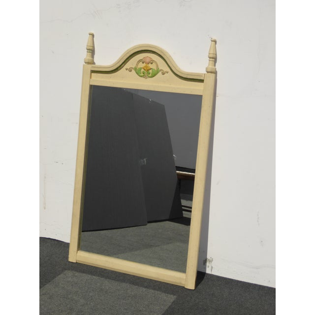 French Country Off White Floral Crest Wall Mirror - Image 4 of 11