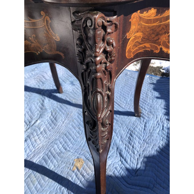 Brown Louis XV Style Mahogany and Satinwood Marquetry Inlaid Center Table For Sale - Image 8 of 13