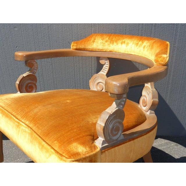 Hollywood Regency Orange Velvet Chairs - A Pair - Image 9 of 11