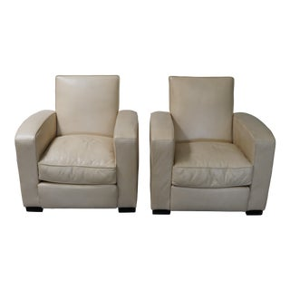 Holly Hunt Great Plains Leather Arm Chairs - A Pair For Sale