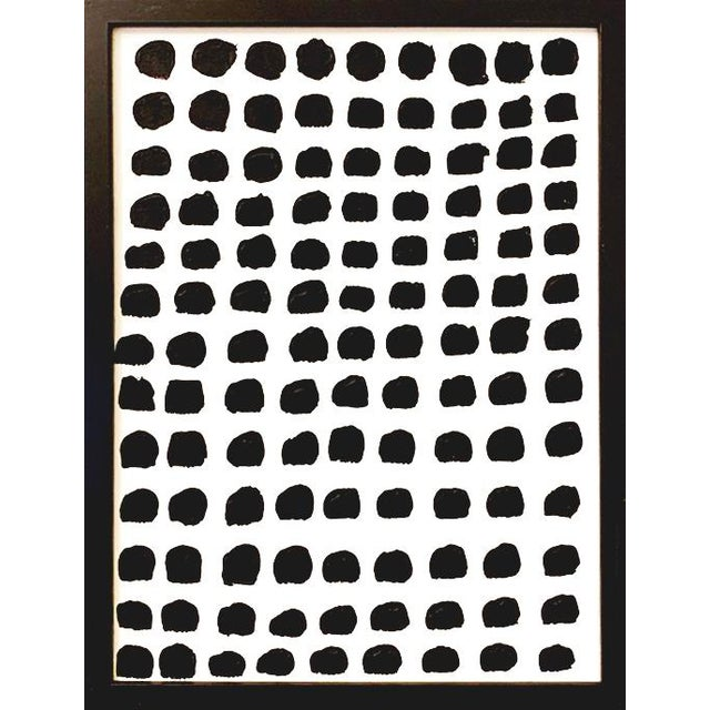 """Mid-Century Modern Original Framed """"Dots"""" Painting For Sale - Image 3 of 3"""