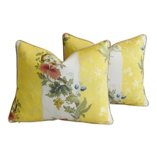 "Scalamandre Italian Silk Embroidered Lampas Floral Feather/Down Pillows 23"" X 18"" - Pair For Sale"