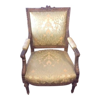 19th Century French Finely Carved Giltwood Armchair For Sale
