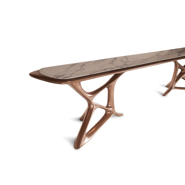 Metal Amorph Custom Anika Console Table, Bronze Finish With White Marble Stone For Sale - Image 7 of 10