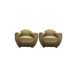 Art Deco Sateen Club Chairs - a Pair For Sale