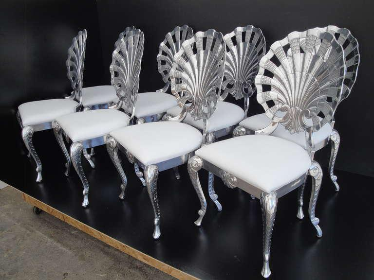Aluminum Polished Venetian Grotto Style Aluminum Shell Dining Chair For  Sale   Image 7 Of 10