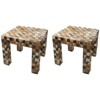Graphic Checkered Pattern Horn-Inlaid End Tables - a Pair For Sale