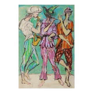 """""""Musicians 2"""" 1970s Colorful Oil For Sale"""