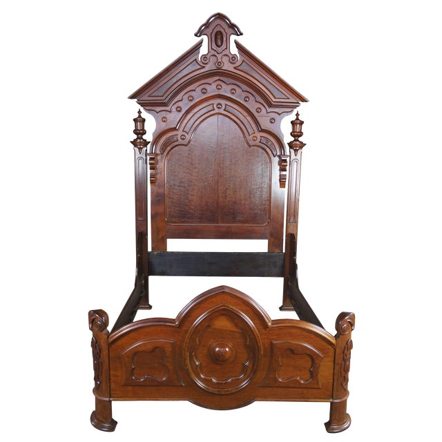 Antique Victorian Carved Walnut Highback Full Bedframe For Sale