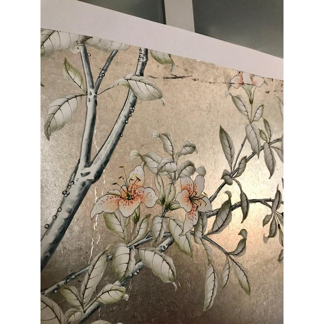 Asian Handpainted Chinoiserie Wallpaper Panel, Silver Metal Leaf With Birds For Sale - Image 3 of 8