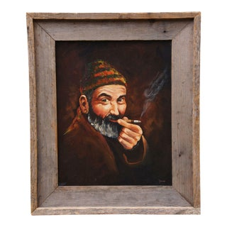 Realist India Signed Original Oil on Canvas Painting Portrait of Bearded Man Smoking For Sale
