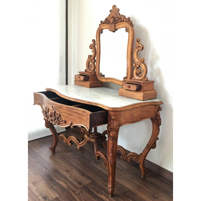 Carved Victorian Gany Vanity Or Dressing Table With Attached Mirror For Image 4 Of