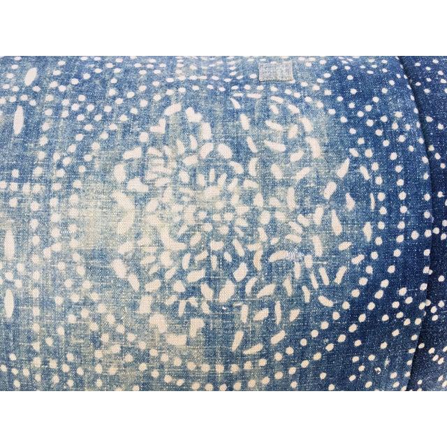 Bleached-Out Indigo Batik Pillow - Image 5 of 10