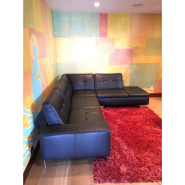 Scandinavian Design 2 Piece Black Leather Sectional Sofa - Image 2 of 6