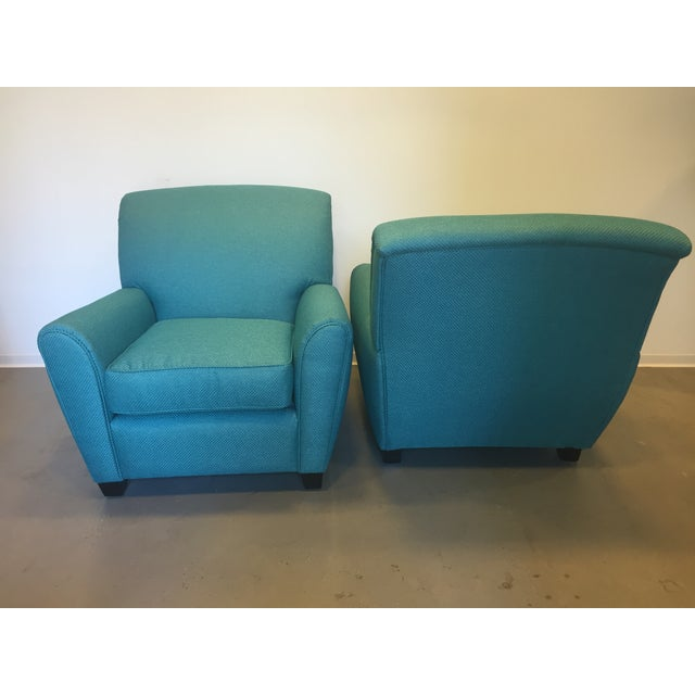 Turquoise Club Chairs - A Pair - Image 5 of 9