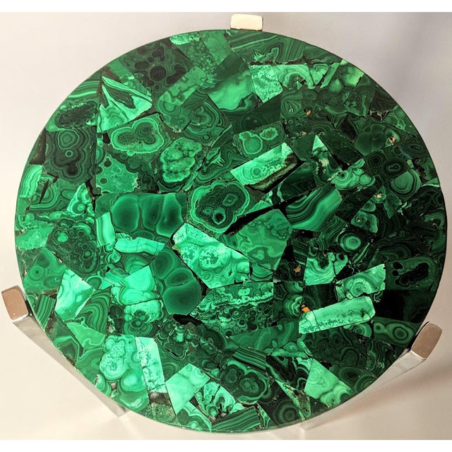 Art Deco Art Deco Malachite & Chrome Side Table For Sale - Image 3 of 13