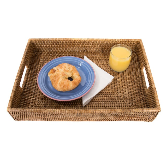 Boho Chic Artifacts Rattan Rectangular Tray For Sale - Image 3 of 4