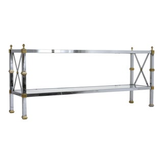 Hollywood Regency-Style Chrome Brass and Glass Sofa Table