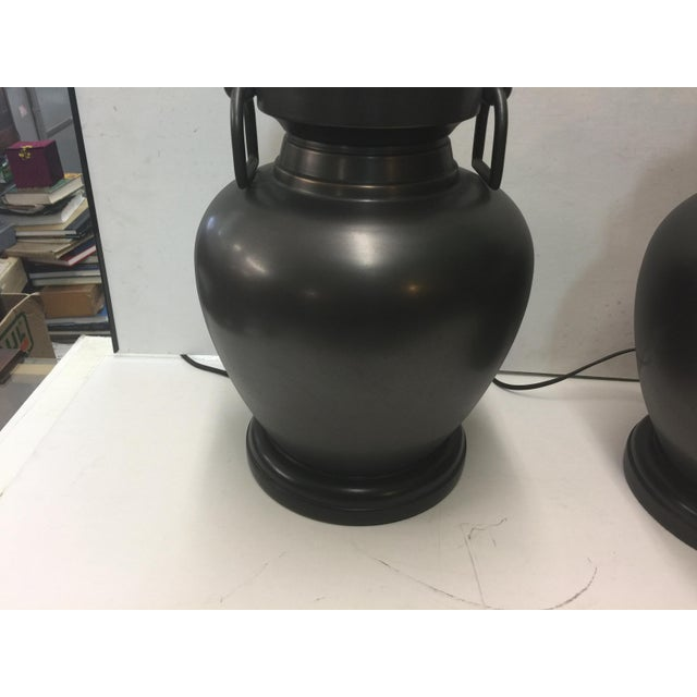 Pair of Pottery Barn Urn Form Bronze Finish Lamps For Sale - Image 5 of 7