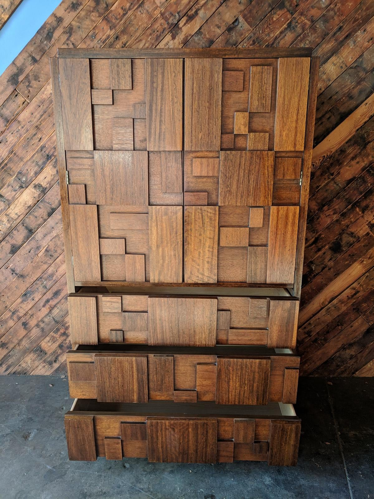 Charmant Brutalist Vintage Walnut Armoire By Lane Furniture Co.   Image 5 Of 9