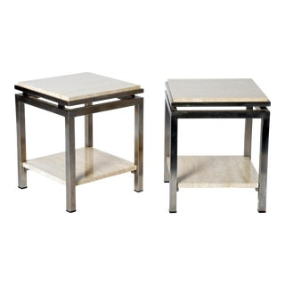 Pair of Two-Tier Travertine Side Tables in the Style of Guy Lefevre for Maison Jansen For Sale