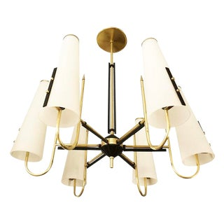 Six Shade Chandelier Attributed to Bruno Chiarini For Sale
