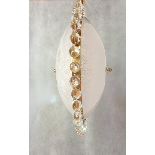 Large Mid-Century Modern Sunflower Murano Glass & Brass Chandelier, Cenedese For Sale - Image 6 of 12