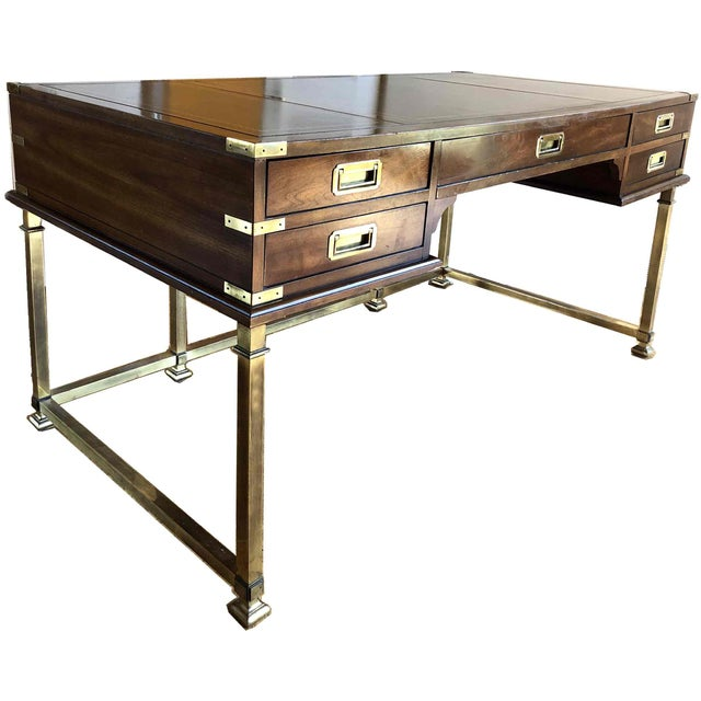 Gold 1970s Campaign Sligh Mahogany Brass & Leather Writing Desk For Sale - Image 8 of 12