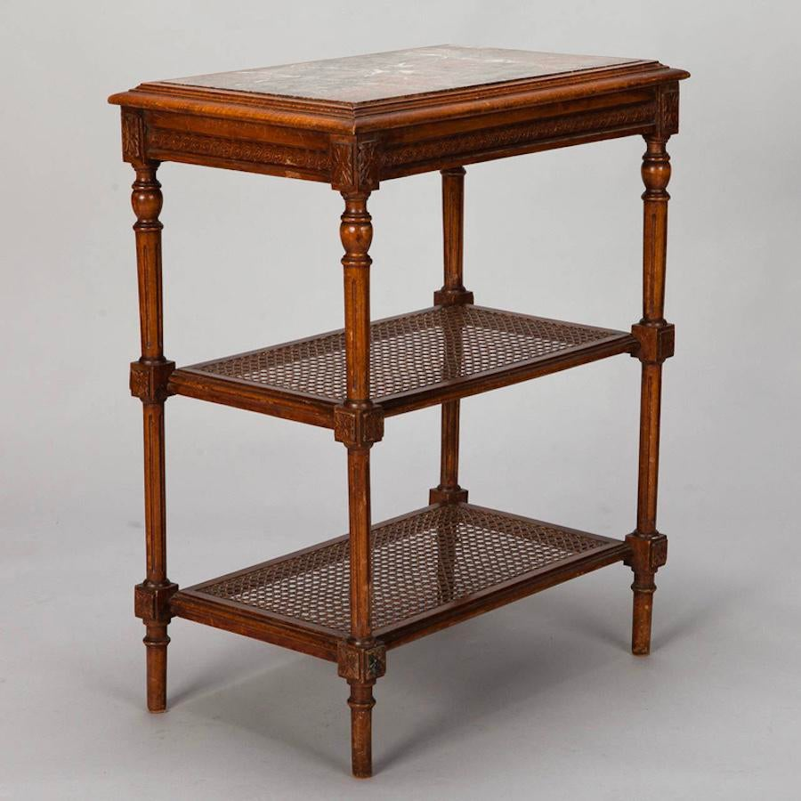 French Tiered Side Table With Marble Top And Caned Shelves   Image 2 Of 10