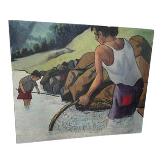 1951 Pescador Original Painting by Puerto Rico Artist Samuel Sanchez Herrera For Sale