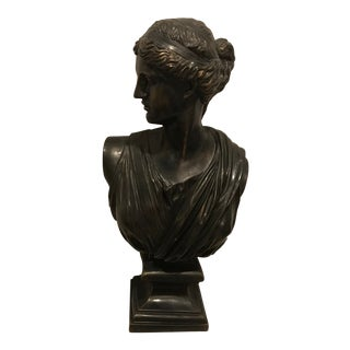 1980s Neoclassical Resin Woman Bust