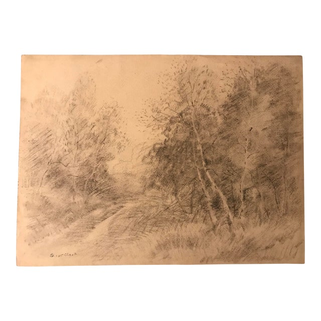 Eliot Clark Bucolic Landscape Drawing For Sale