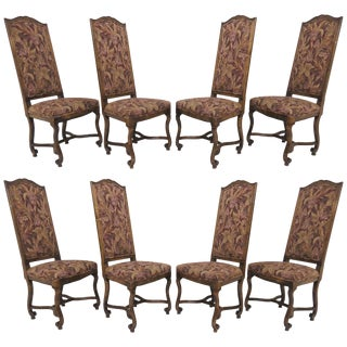 Set of Eight French Louis XIV Style Carved High Back Dining Chairs For Sale