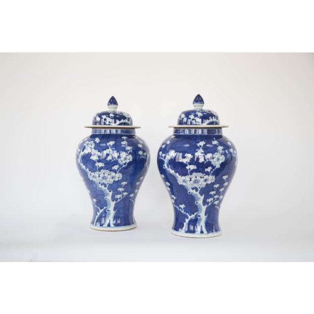 Blue & White Cherry Blossom Temple Jars - A Pair - Image 2 of 9