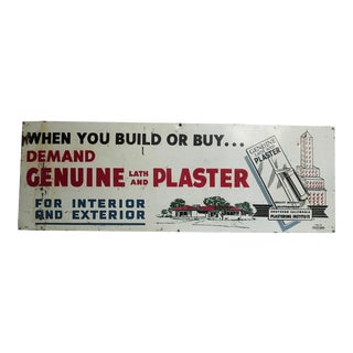"Vintage ""Genuine Lath and Plaster"" Advertising Metal Sign"
