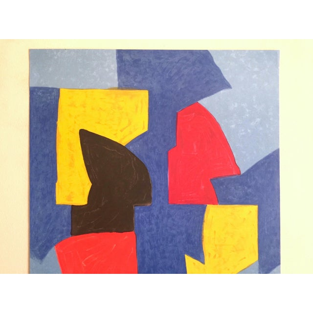 This Serge Poliakoff rare vintage 1970 Mourlot lithograph print Modernist Paris exhibition poster is an incredibly special...