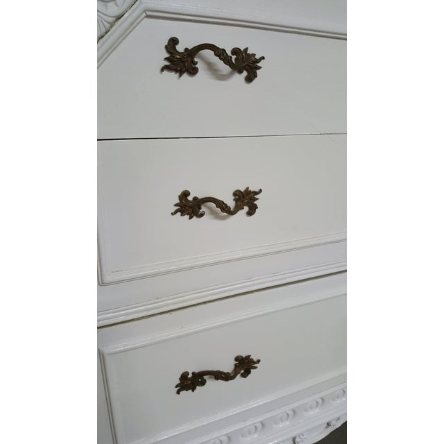 French Provincial White Carved Wood Dresser With Mirror - Image 4 of 9