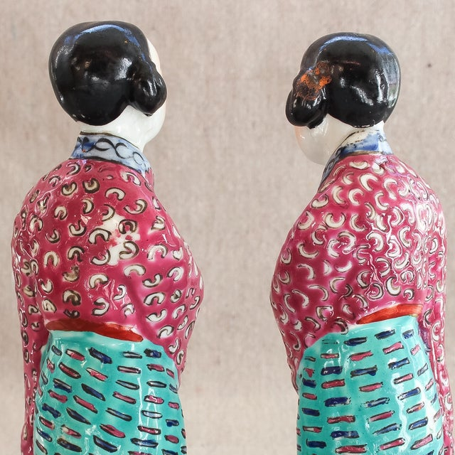Antique Chinese Famille Rose Statues - Pair For Sale - Image 7 of 8