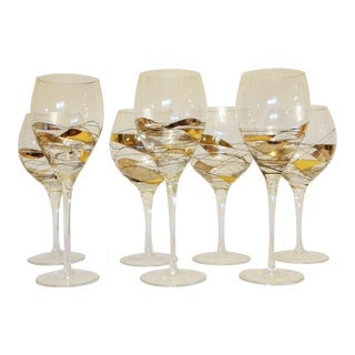 Milano Romanian Style Gold and Silver Crystal Wine Glasses - Set of 7
