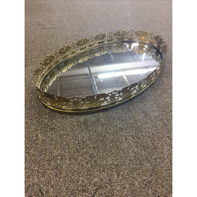 Floral Gilded Mirrored Vanity Tray - Image 4 of 6