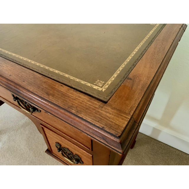 Brown Vintage Georgian Walnut Writing Table With Tooled Leather Top For Sale - Image 8 of 12