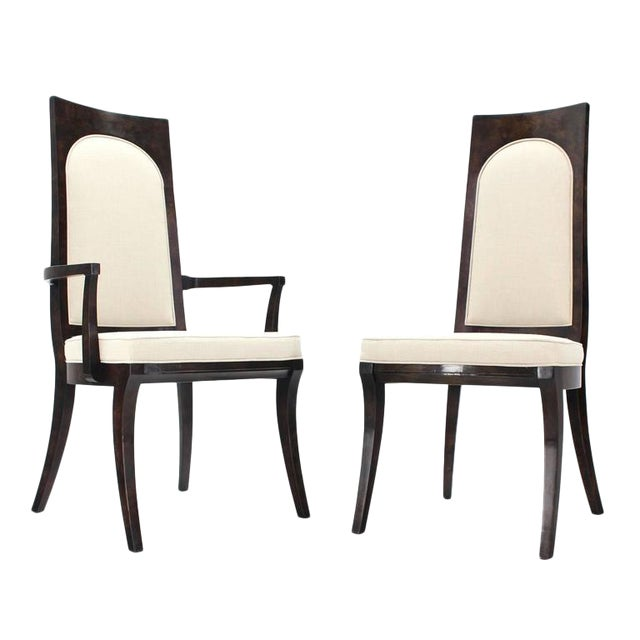 Gorgeous newly upholstered dining chairs by Mastercraft. Made in the early 20th century.
