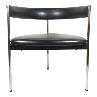 Mid Century German Steel Occasional Chair With Black Leather For Sale