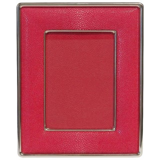 Red Shagreen Nickel-Plated Photo Frame For Sale
