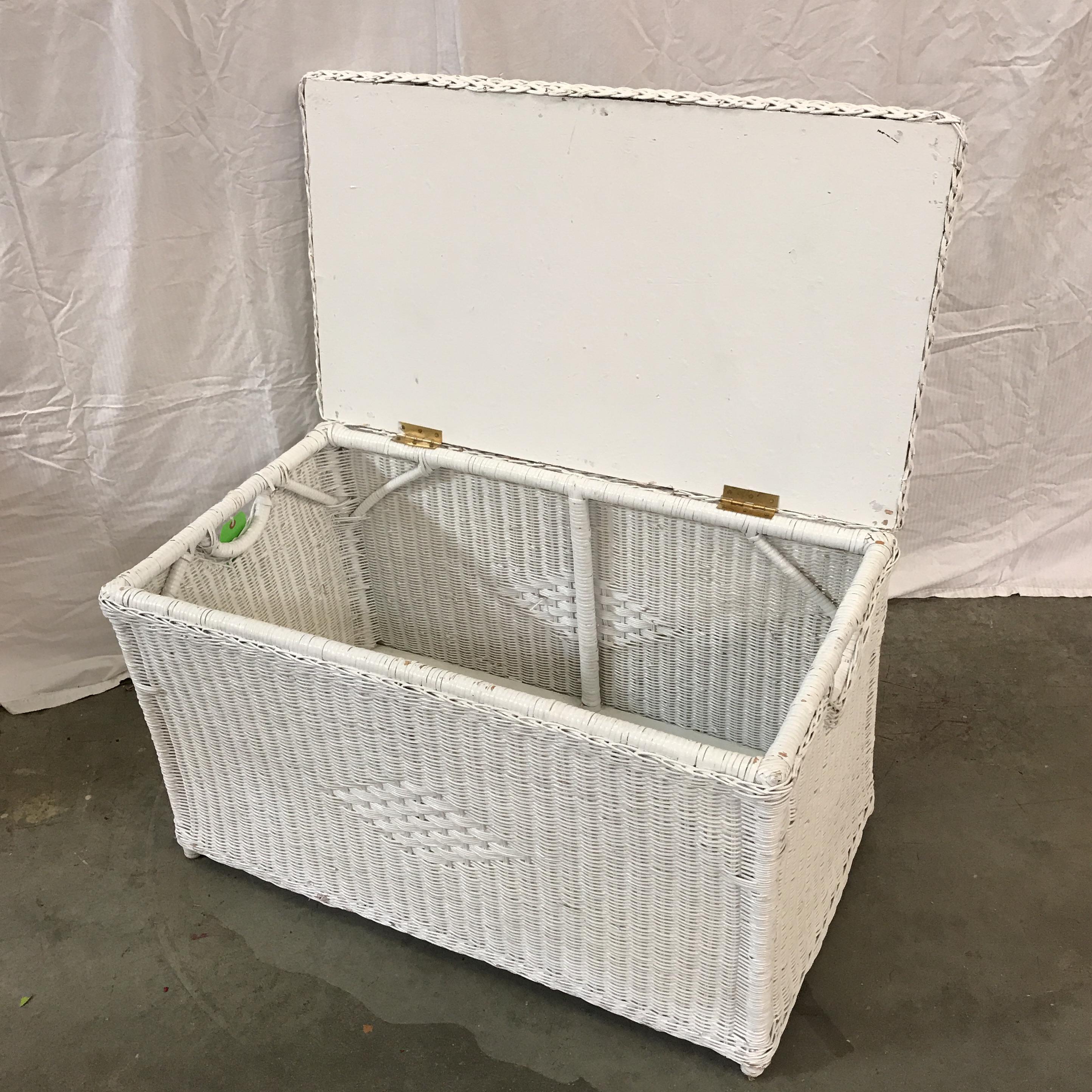 White Wicker Storage Trunk Chairish