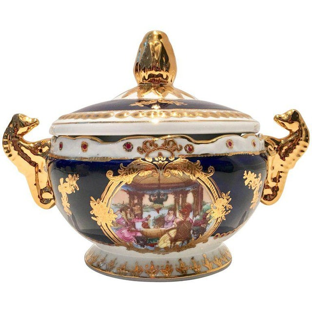 Vintage French Sevres Style Limoges Cobalt and 22-Karat Lidded Jar - Image 9 of 9