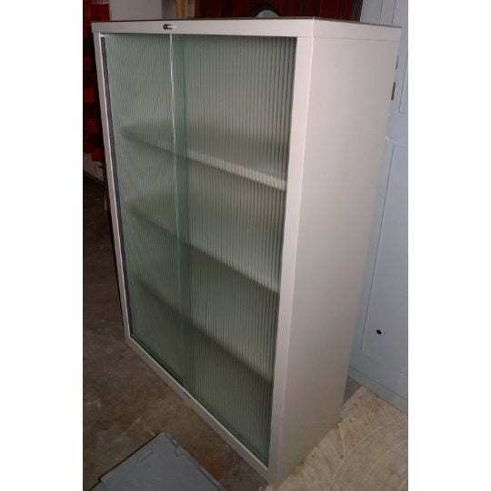 Mid-Century Modern Mid-Century Steelcase Storage Cabinet With Sliding Ribbed-Glass Doors For Sale - Image 3 of 10