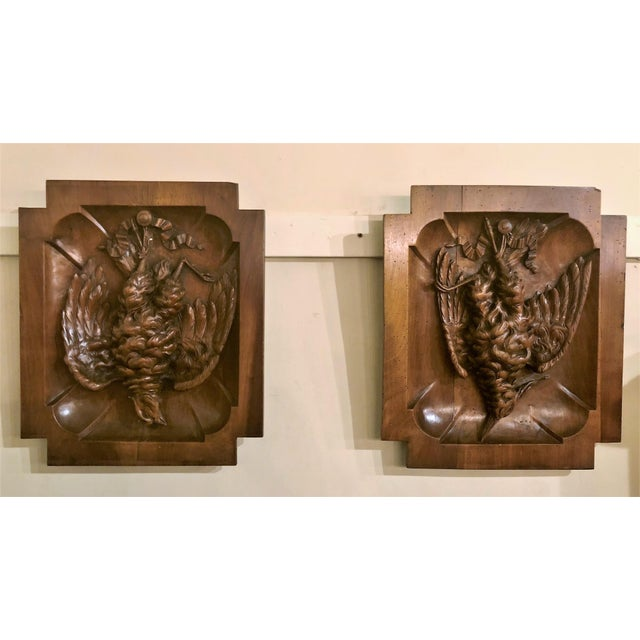 "Pair Antique Walnut ""Master Carvings"" Wall Plaques, Circa 1880. For Sale - Image 4 of 4"