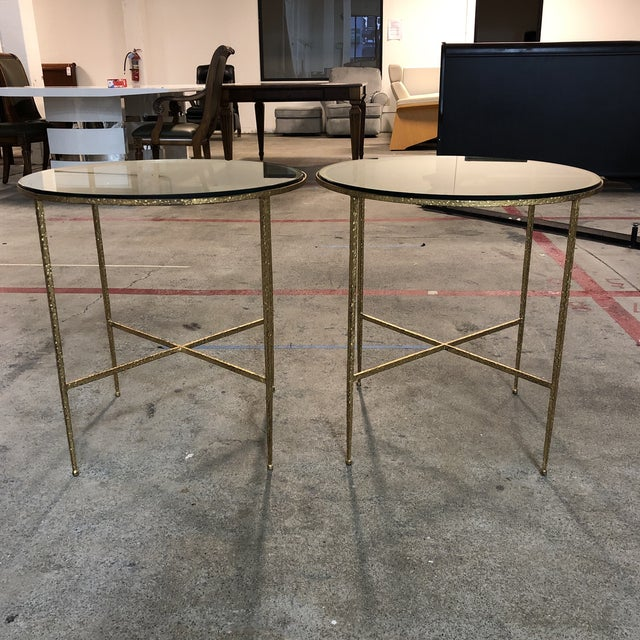 Pair of Custom Gold Finish Round Side Tables For Sale - Image 12 of 12