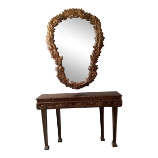 Vintage Hollywood Regency Floral Gilt Console & Mirror - 2 Pc For Sale
